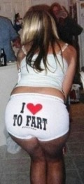 Woman expressing her love of farting