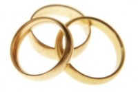 Three entwined wedding bands