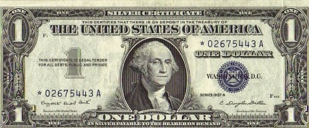 Silver Certificate - one dollar