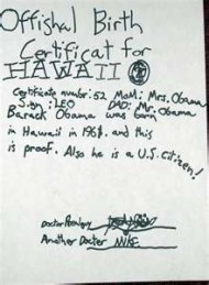 Handwritten joke birth certificate